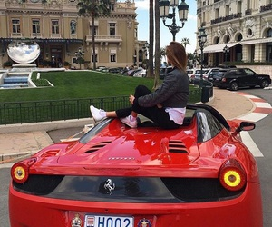 car, girl, and red image