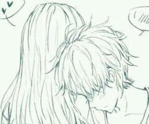 anime, boy and girl, and drawing image