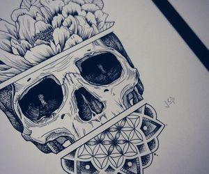 art, skull, and draw image