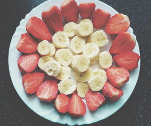 banana, fitness, and strawberries image