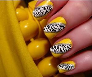 nails, yellow, and zebra image