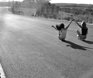 black and white, girls, and sk8 image