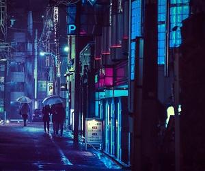 night, neon, and street image