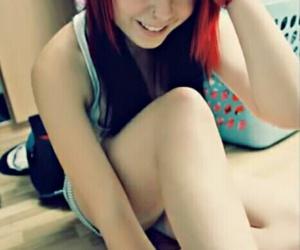 emo, scene hair, and red scene hair image