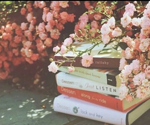 books, nature, and pink flowers image