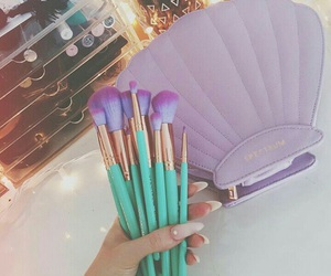 makeup, Brushes, and purple image
