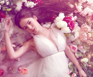 dress, flowers, and wedding dress image
