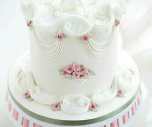 food, pink cake, and white cake image