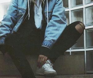dark, rad, and denim jacket image
