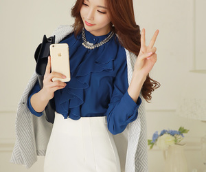 asian fashion, kstyle, and chiffon blouse image