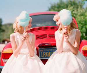 girl, cotton candy, and car image