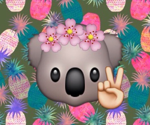 Koala, wallpaper, and emojis image