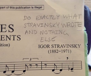 classical music, sheet music, and stravinsky image