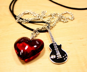 love, guitar, and heart image