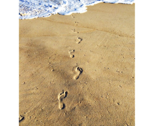 beach, footsteps, and sand image