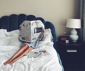bed, girl, and hotel image