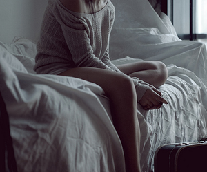girl, bed, and alone image