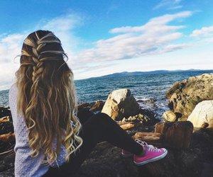 hair, tumblr, and beach image