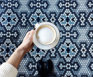 blue, coffee, and cafe image