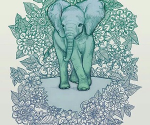 art, elefante, and green image