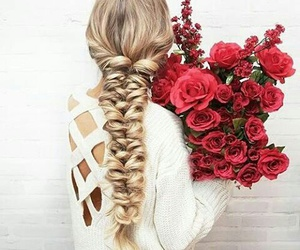 hair, flowers, and rose image