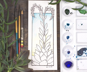 succulent and watercolor image