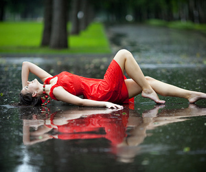 rain, girl, and red image