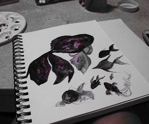 fish, watercolor, and galaxia image