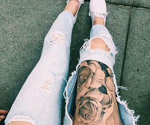 tattoo, rose, and jeans image