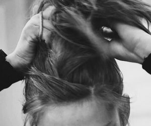 black and white, hair, and ponytail image