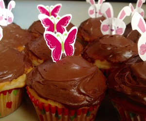 bunnies, cupcakes, and butterflies image