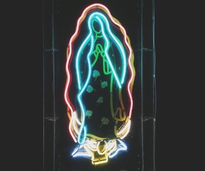 Catholic, neon, and mother of jesus image