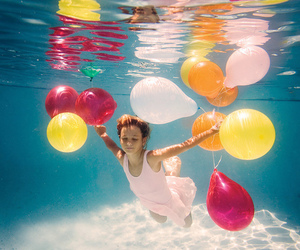 balloons, water, and underwater image