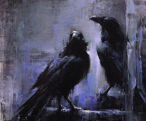 art, raven, and birds image