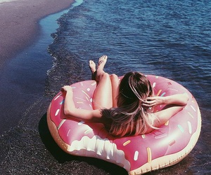beach, summer, and donut image