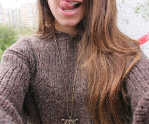 fashion, hair style, and necklace image