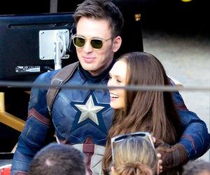 chris evans, elizabeth olsen, and captain america image