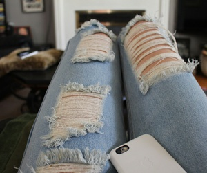 fashion, iphone, and ripped jeans image