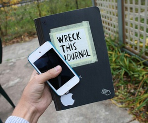 iphone, wreck this journal, and book image