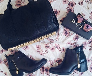 bag, gold, and studded purse image
