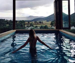 girl, pool, and view image