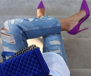 heels, purple, and outfit image