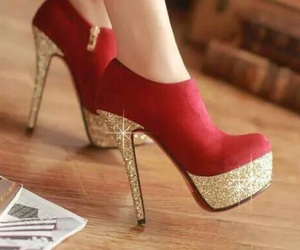 shoes, red, and gold image