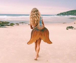 mermaid, beach, and girl image