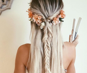 blond, braids, and flowers image