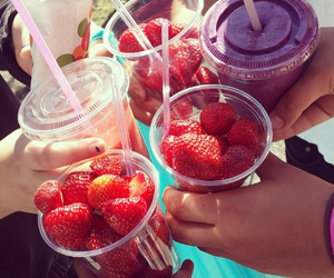 strawberry, fruit, and summer image