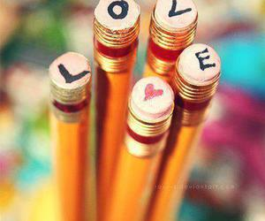 love, pencil, and heart image