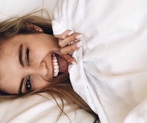 girl, smile, and bed image