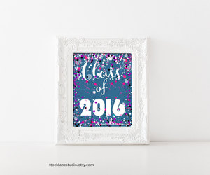 colorful typography, etsy, and high school graduation image