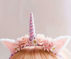 unicorn, pink, and flowers image